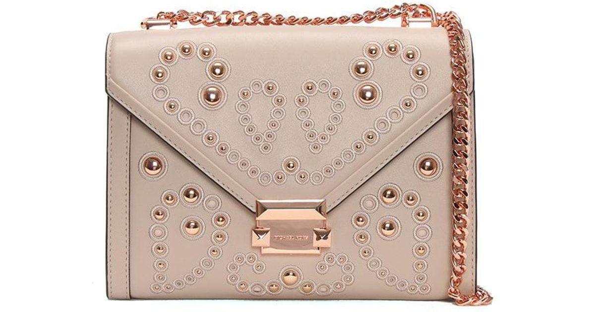 97b96e00d48f Michael Kors Whitney Large Embellished Soft Pink Leather Shoulder Bag in  Pink - Lyst
