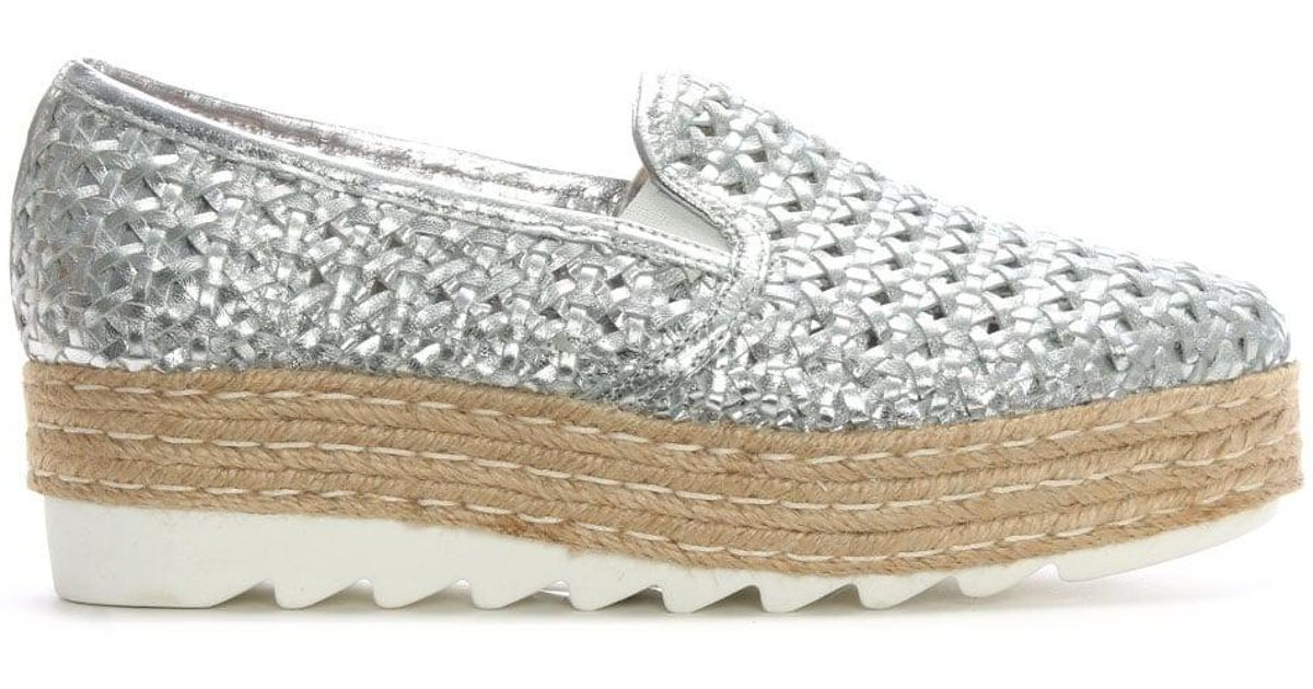 Sherlington Donna Più Flatform Silver Woven Leather Lyst dBEPqFnd