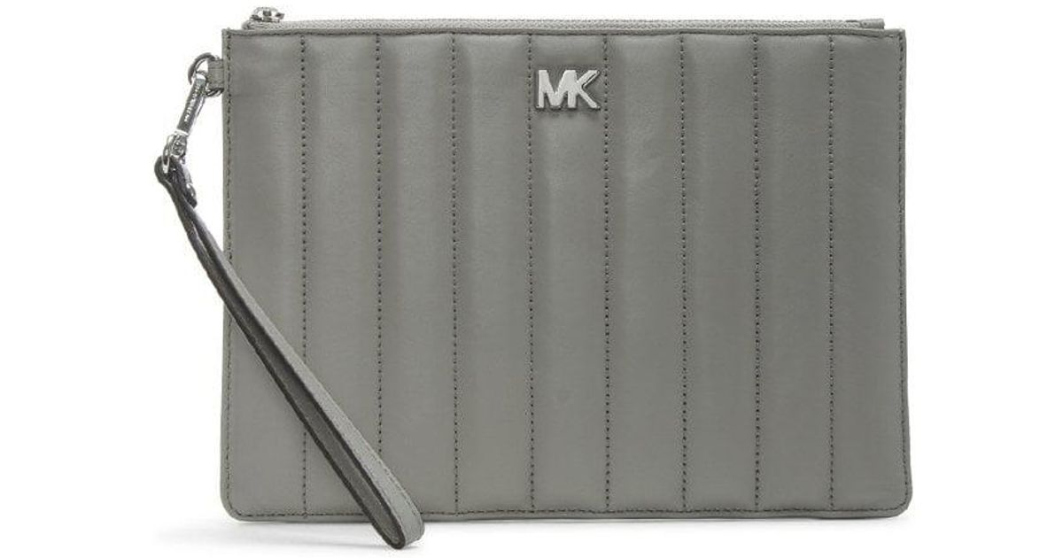 d70fea026ebc Michael Kors Flat Quilted Pearl Grey Leather Clutch Bag in Gray - Save  3.030303030303031% - Lyst