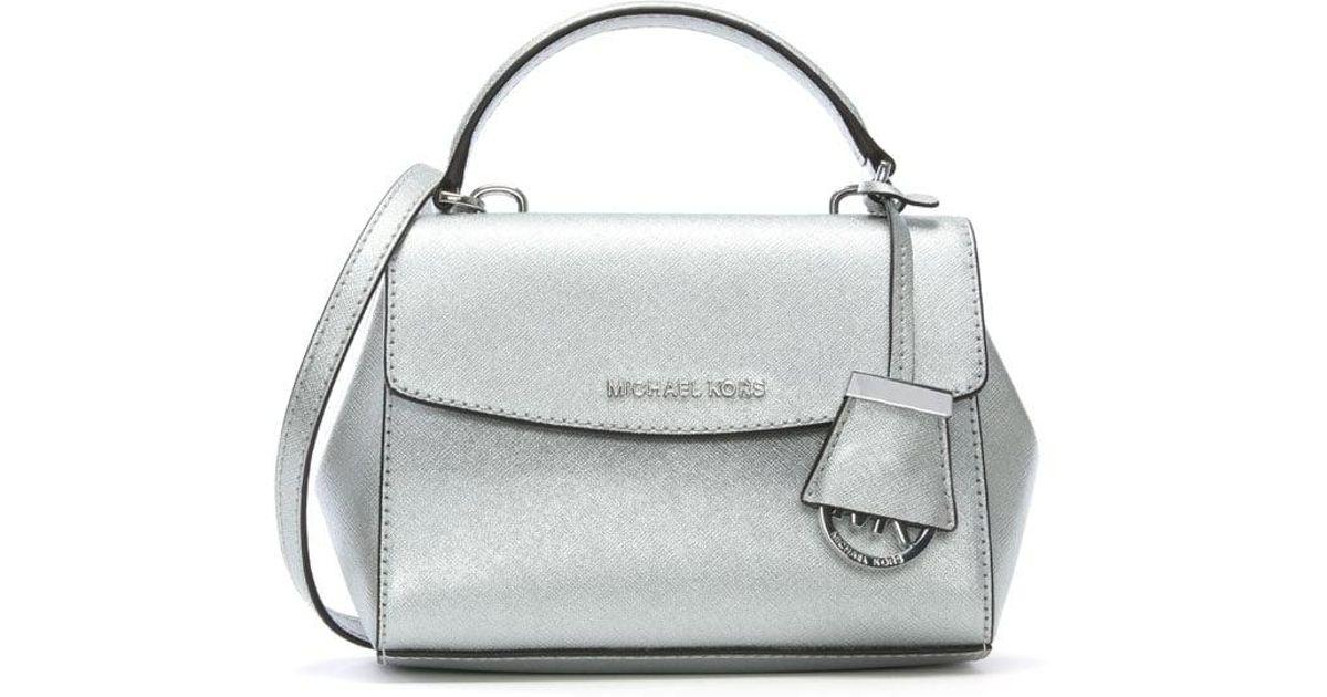 d1e18eccfc82 Michael Kors Ava Mini Silver Leather Cross-body Bag in Metallic - Lyst