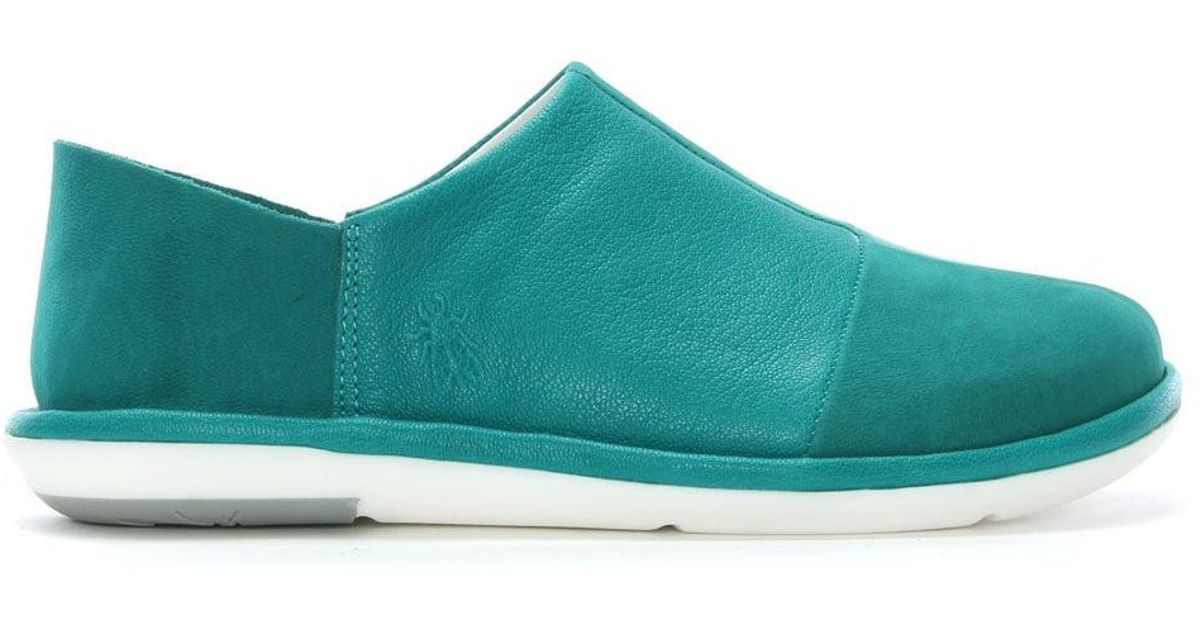 2f50f90e26e3be Fly London Mola Turquoise Leather Slip On Shoes in Blue - Lyst