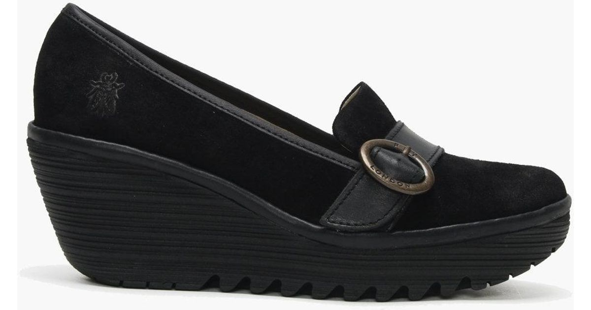8bf68d48792 Fly London Yond Black Suede Wedge Loafers in Black - Save 29% - Lyst
