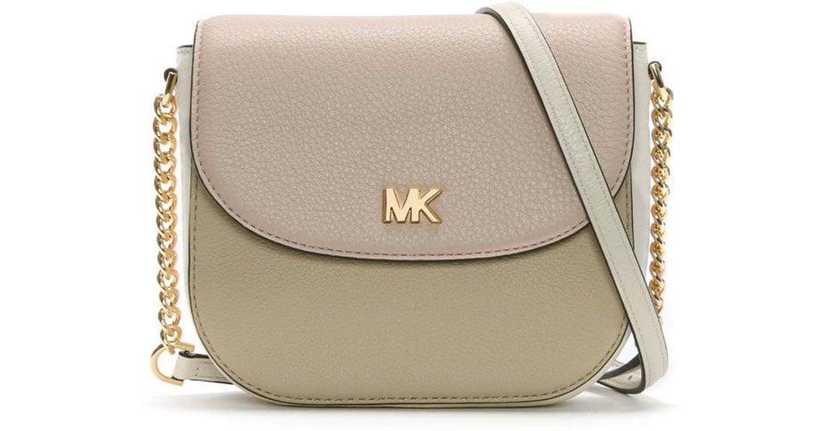 767ad650a023 Lyst - Michael Kors Mott Half Dome Nude Leather Colour Block Cross-body Bag  in Natural