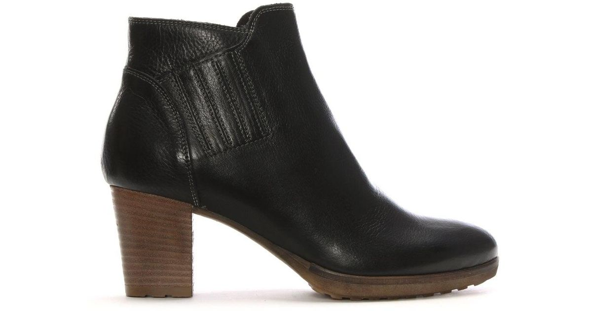 2e1d4b40f1a Shoon Black Leather Stacked Heel Ankle Boots in Black - Lyst