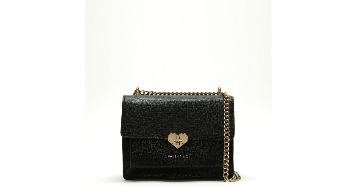 8314bc806ef Valentino By Mario Valentino Small Amelie Black Heart Clasp Cross-body Bag  in Black - Save 12% - Lyst