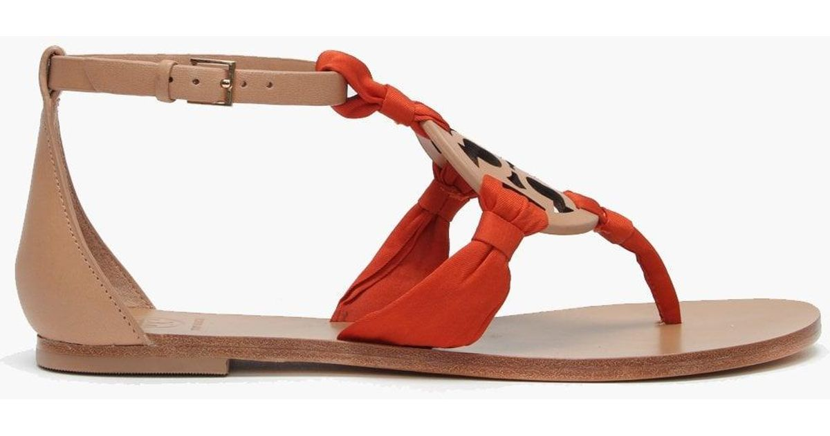 3772624bd5d6 Lyst - Tory Burch Miller Natural Leather Satin Scarf Sandals