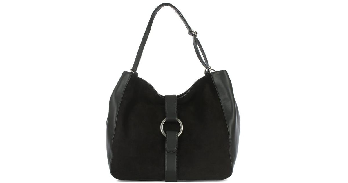 a4981b8241a917 Lyst - Michael kors Quincy Large Black Leather & Suede Shoulder Tote Bag in  Black