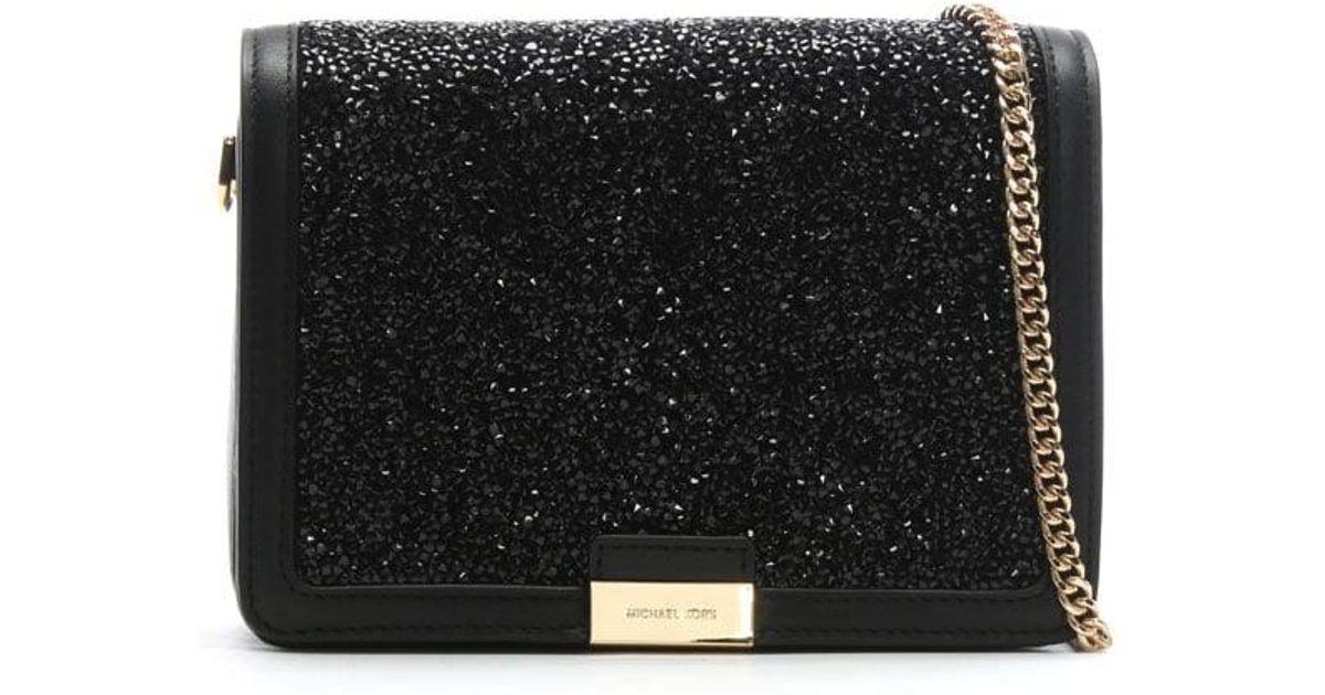 a2b503e4c5 Michael Kors Jade Black Leather Embellished Clutch Bag in Black - Lyst