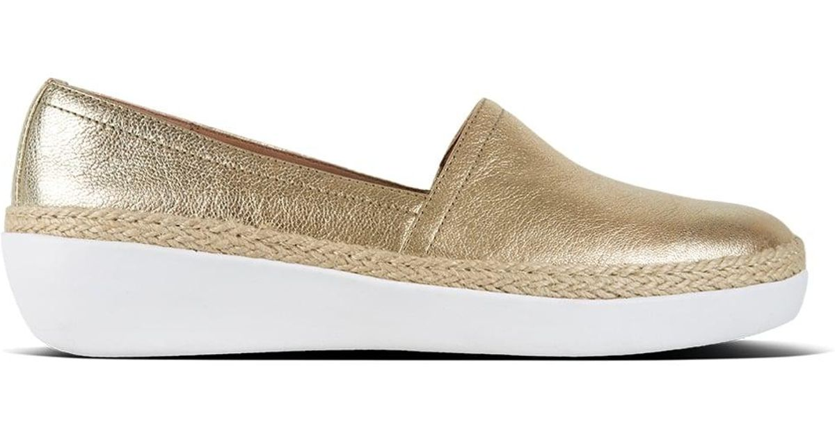 f11a06d63 Fitflop Casa Gold Leather Jute Trim Loafers in Metallic - Lyst