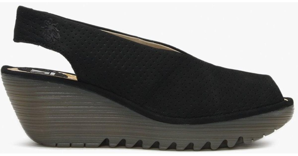 a0c0492a1c9aa Lyst - Fly London Yazu Black Leather Perforated Sling Back Wedge Sandals in  Black