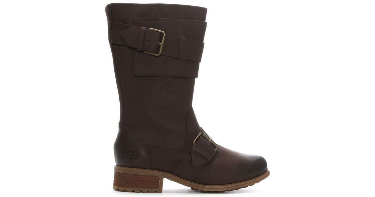 47cff168ffc Ugg Brown Chancey Stout Leather Calf Biker Boots