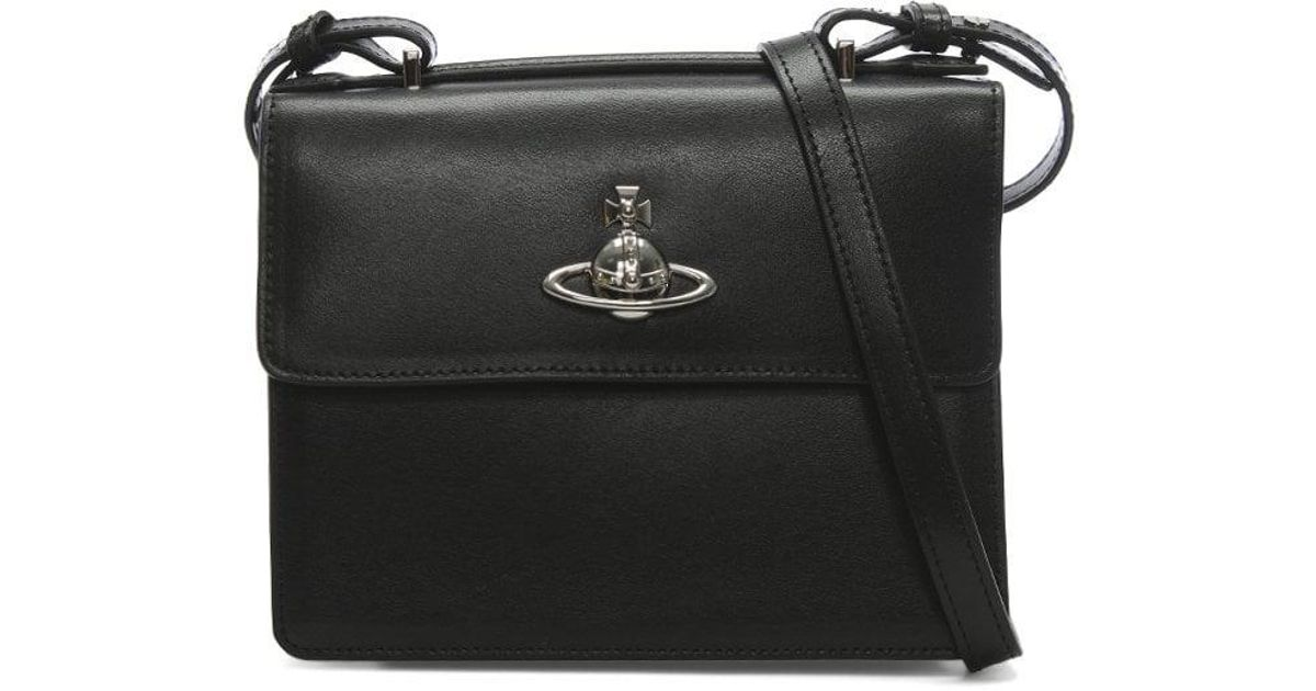 f02a67e4f6 Vivienne Westwood Matilda Black Leather Medium Cross-body Bag in Black -  Lyst
