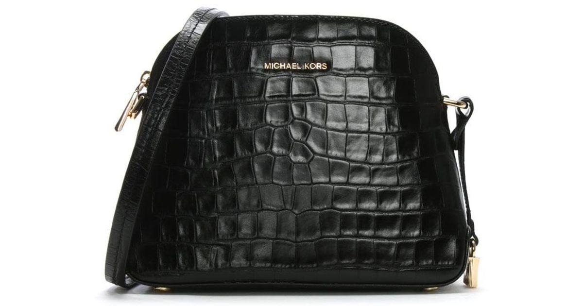 ba0bf767b1b5 Michael Kors Mercer Black Moc Croc Leather Dome Messenger Bag in Black -  Lyst