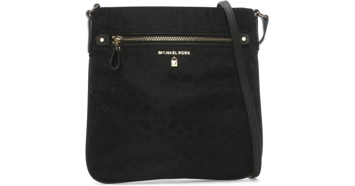 a835aa72c9e3c4 Lyst - Michael Kors Large Kelsey Black Nylon Floral Printed Jacquard  Cross-body Bag in Black