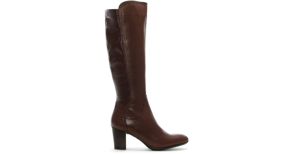 55a11c5005b Lamica Tan Leather Stacked Heel Knee High Boots in Brown - Lyst