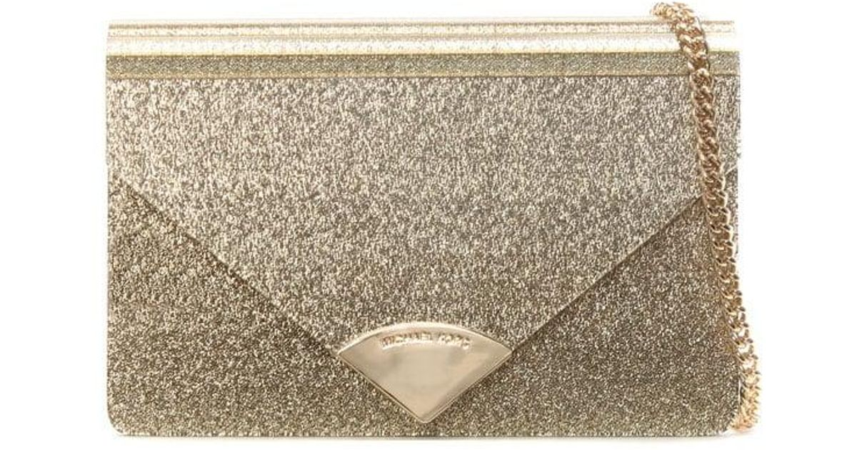 20e4bc70d40f20 Michael Kors Barbara Gold Metallic Envelope Clutch Bag in Metallic - Lyst