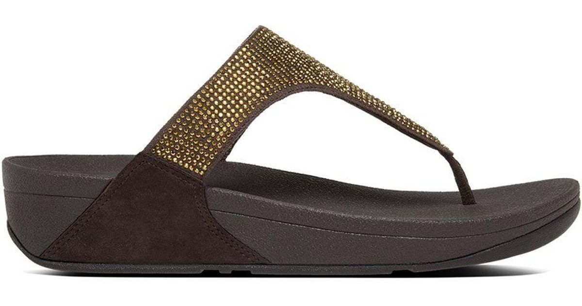 a2e6f7e81ab Lyst - Fitflop Slinky Rokkit Bronze Jewelled Toe Post Sandals in Brown