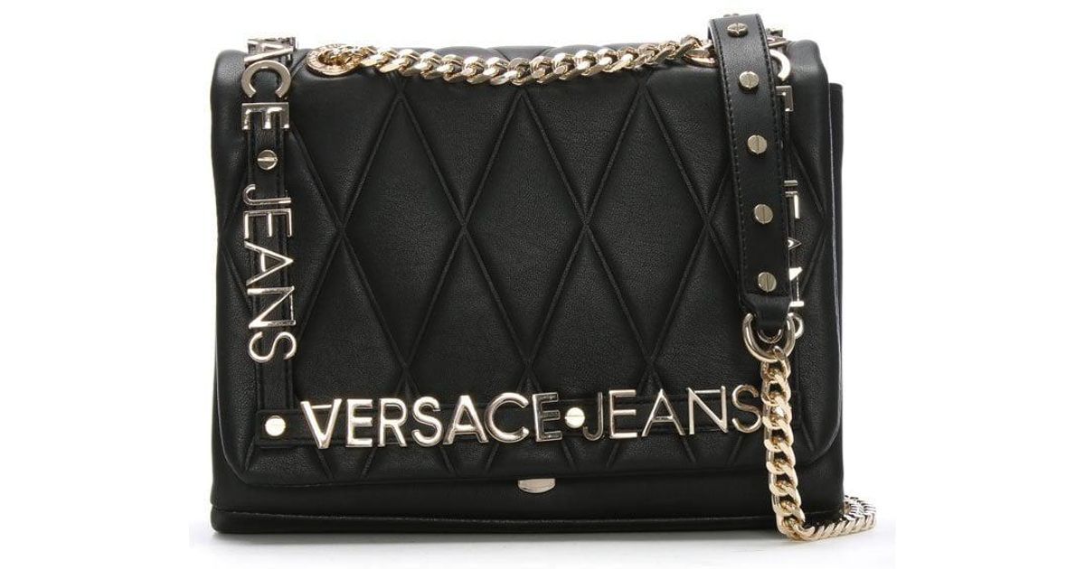 4bfd46990e19 Versace Jeans Quilted Logo Crossbody Bag Black in Black - Lyst