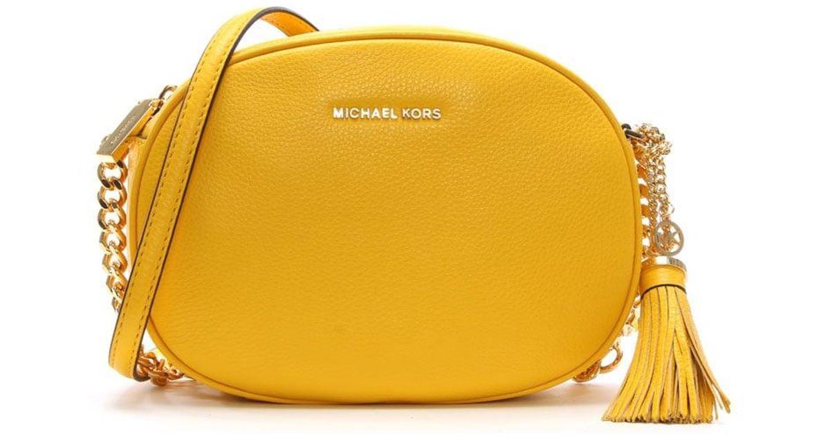 7a5eeaa47c7c05 Michael Kors Ginny Medium Sunflower Leather Messenger Bag in Yellow - Lyst