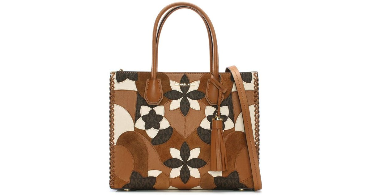 5c7a7e91a599 Michael Kors Mercer Acorn Brown Floral Patchwork Tote Bag in Brown - Lyst