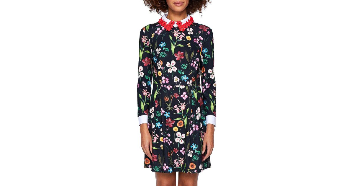 aa8200bdf6055d Ted Baker Hampton Court Appliqued Collar Dress in Black - Lyst