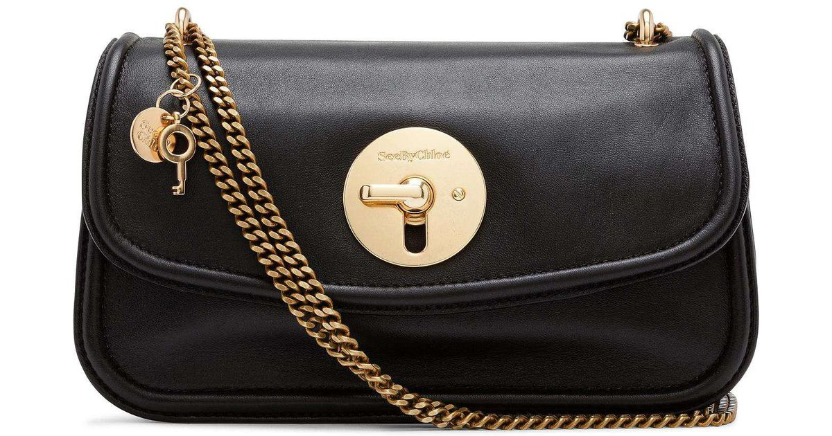 1ddfb73b46 See By Chloé Lois Med Turn Lock Chain Handle in Black - Lyst