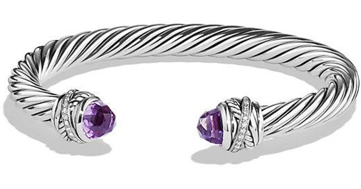 David Yurman Cable Clic Crossover Bracelet With Amethyst And Diamonds 7mm In Purple Lyst