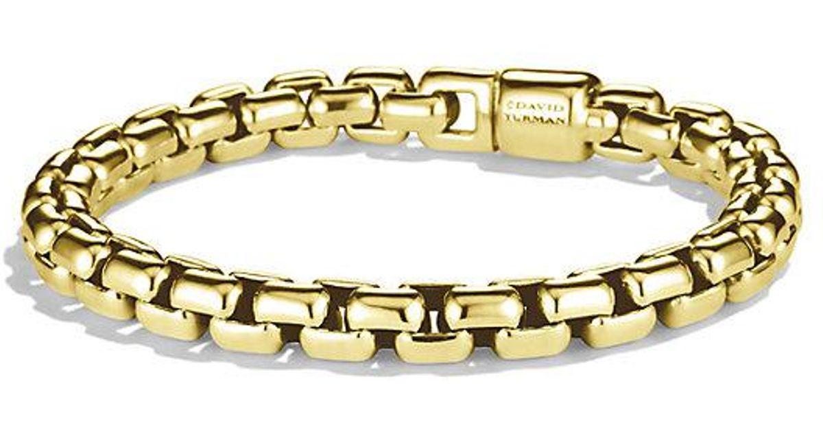 David Yurman Box Chain Bracelet In 18k Gold 7 5mm Metallic For Men Lyst