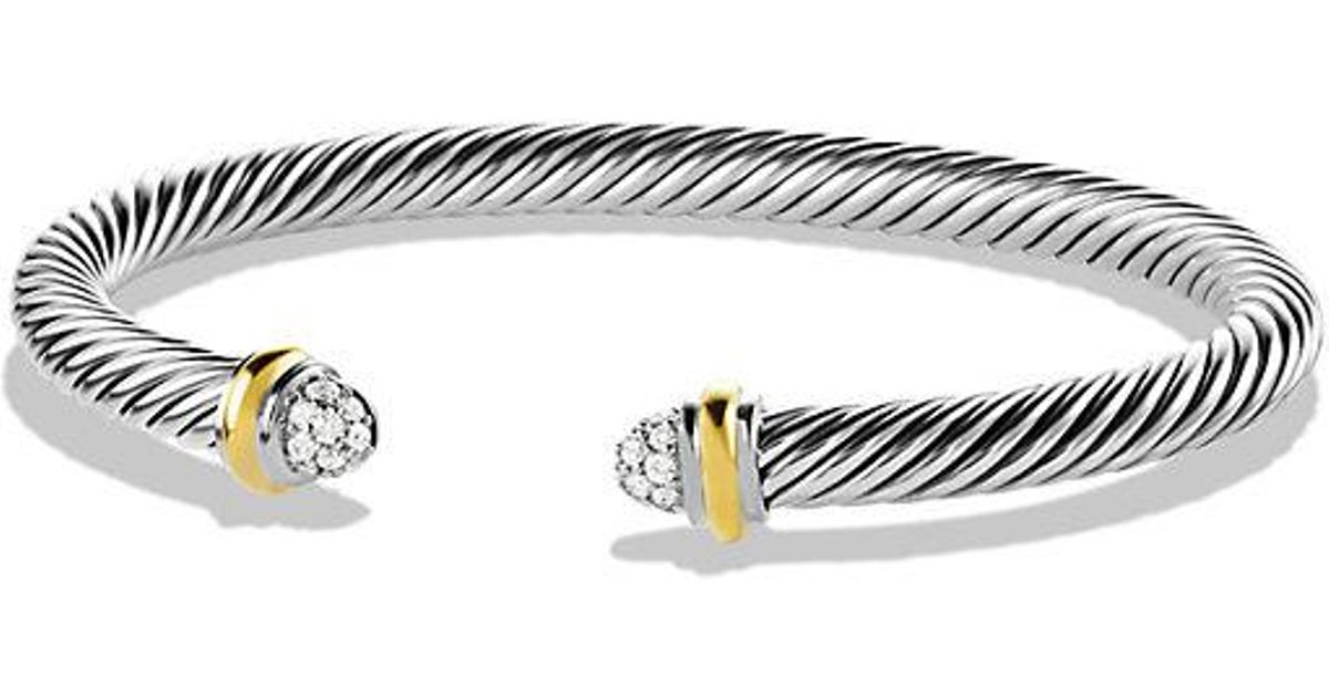 Lyst David Yurman Cable Clics Bracelet With Diamonds And 18k Gold 5mm In Metallic