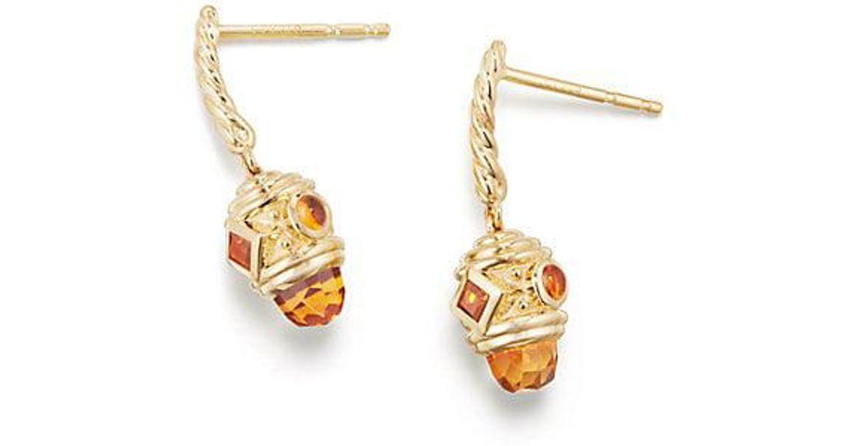 Lyst David Yurman Renaissance Drop Earrings With Madeira Citrine In 18k Gold Metallic