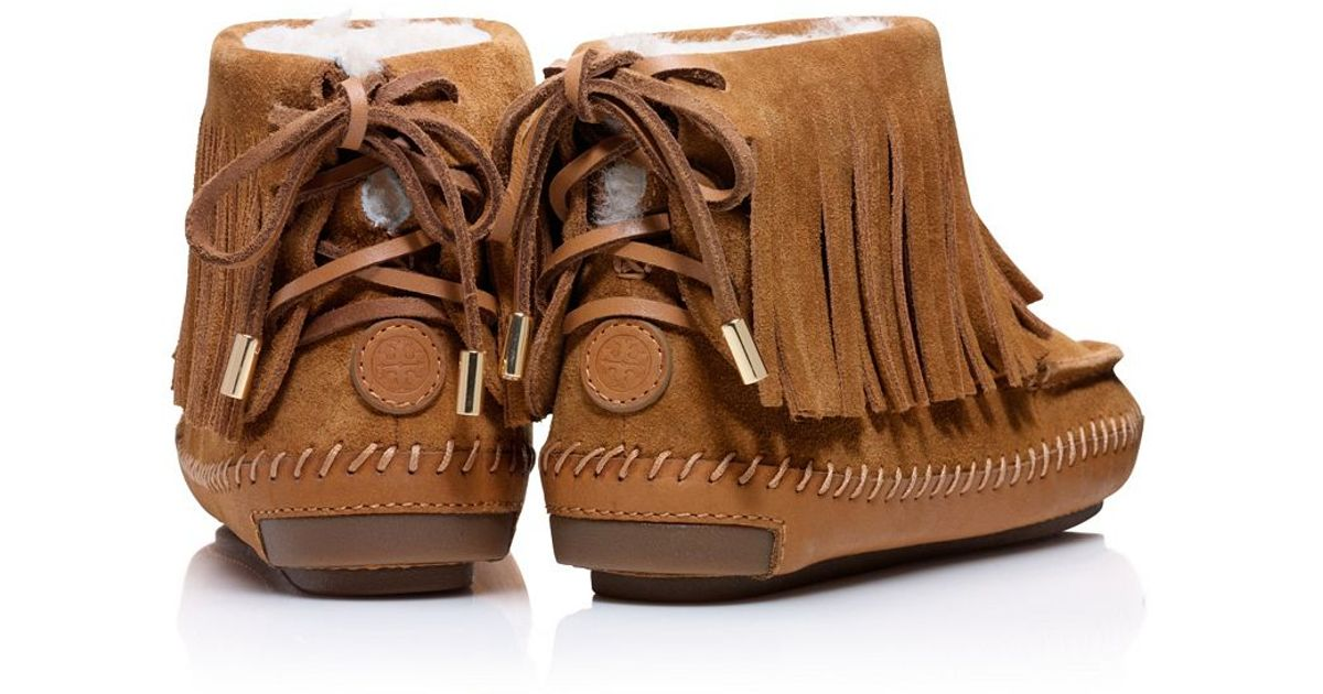 134b02f943a Lyst - Tory Burch Collins Fringe Moccasin in Brown
