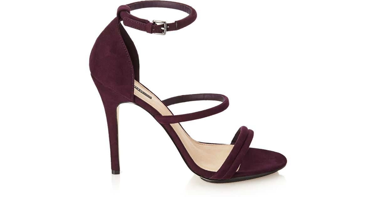 32b09dc6daf Forever 21 Faux Suede Strappy Sandals in Purple - Lyst