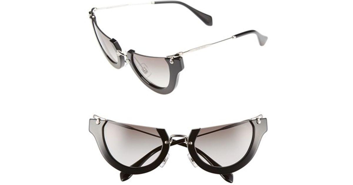 Rimless Cat Eye Glasses : Miu miu noir 52mm Semi-rimless Cat-eye Sunglasses in ...