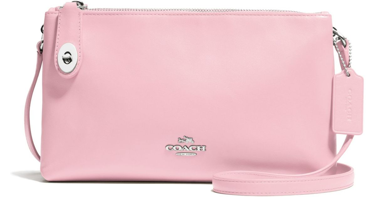 coach crosby leather crossbody bag in pink light pink lyst. Black Bedroom Furniture Sets. Home Design Ideas