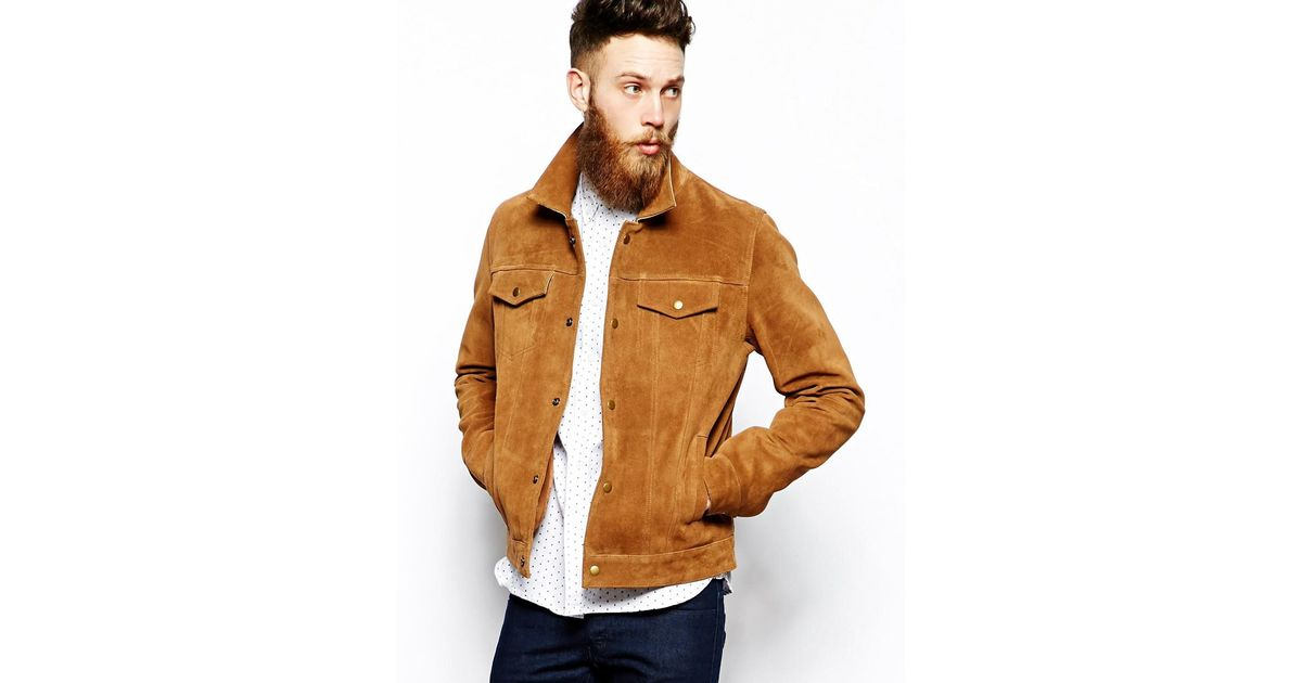 e26a390a ASOS Suede Western Jacket in Brown for Men - Lyst