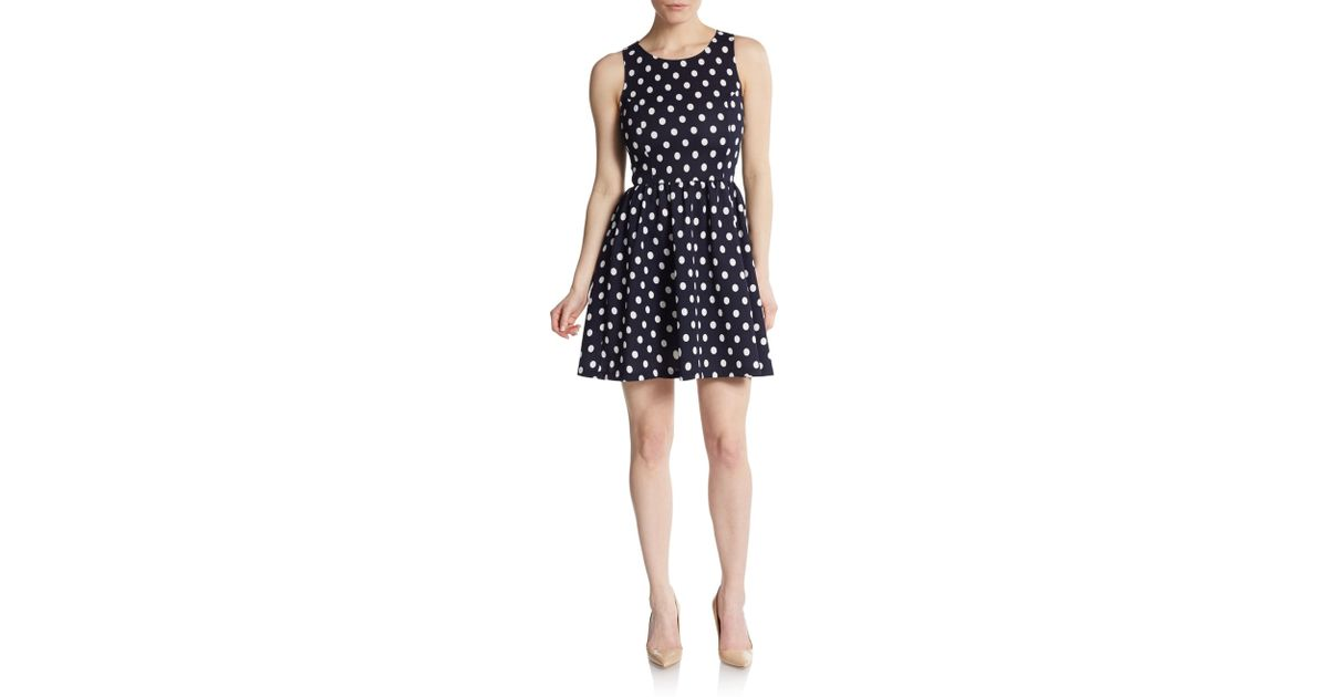 b64a1695e8a Lyst - Saks Fifth Avenue Polka Dot Textured Fit-and-flare Dress in Black