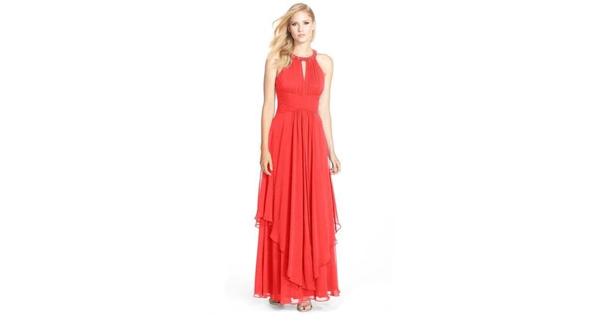 Lyst - Eliza J Embellished Tiered Chiffon Halter Gown in Red