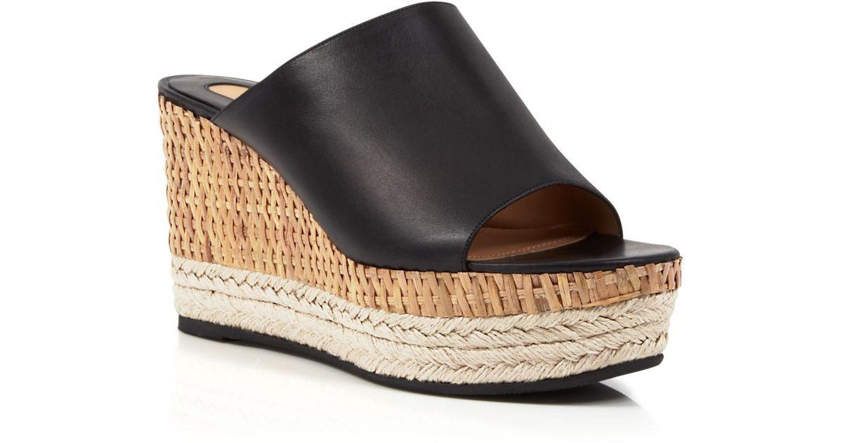 b2135c218da Lyst - Ferragamo Open Toe Slide Mule Platform Wedge Sandals - Maimei in  Black