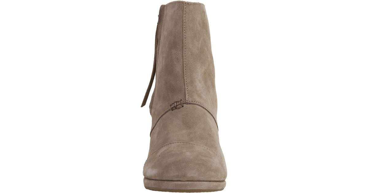 c7eb796816e0 TOMS - Brown Desert Wedge High Taupe Suede Ankle Booties - Lyst