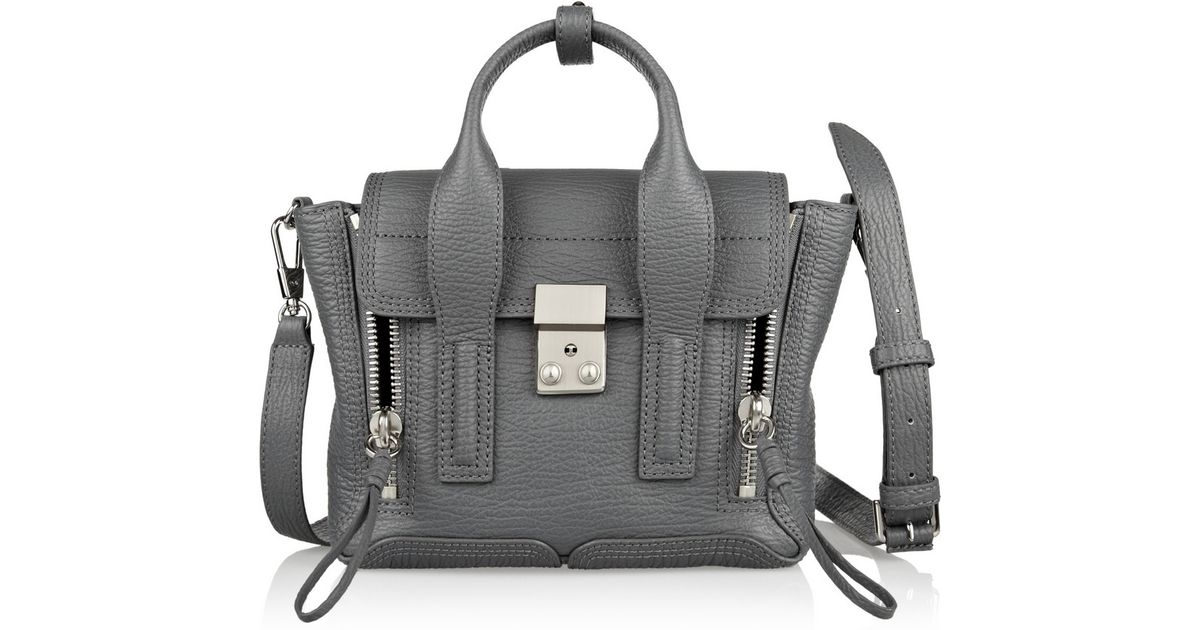 0c731e5a96581 3.1 Phillip Lim The Pashli Mini Texturedleather Trapeze Bag in Gray - Lyst