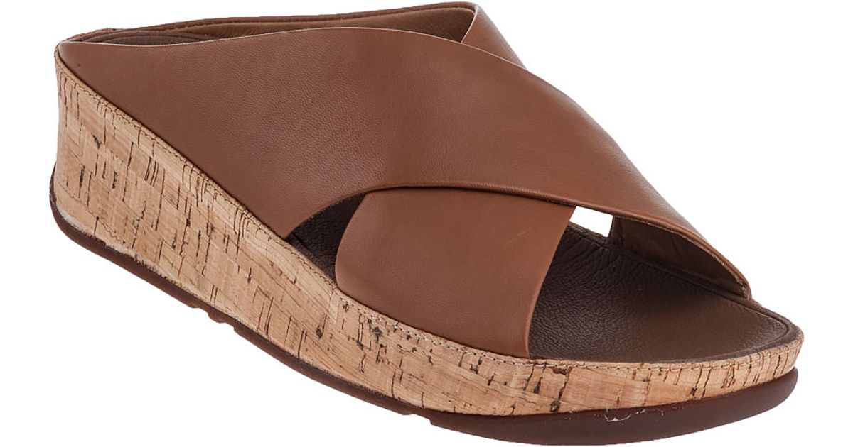 f6032c20e1cc Lyst - Fitflop Kys Slide Sandal Tan Leather in Brown