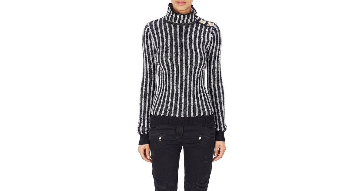 8291a346574f Lyst - Balmain Mixed Knit Turtleneck Sweater in Black
