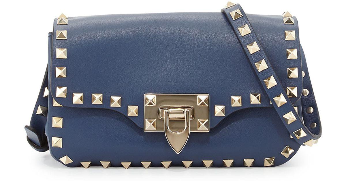 Lyst - Valentino Rockstud Leather Studded Mini Crossbody Bag Blue in  Metallic 96951d0124438
