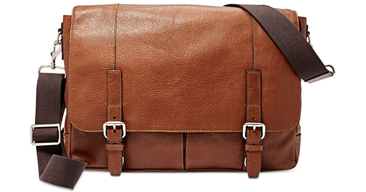 Unique NEW FOSSIL BROWN LEATHER TRANSIT VERTICAL WK BRIEFCASECROSSBODY+MESSENGER BAG | EBay