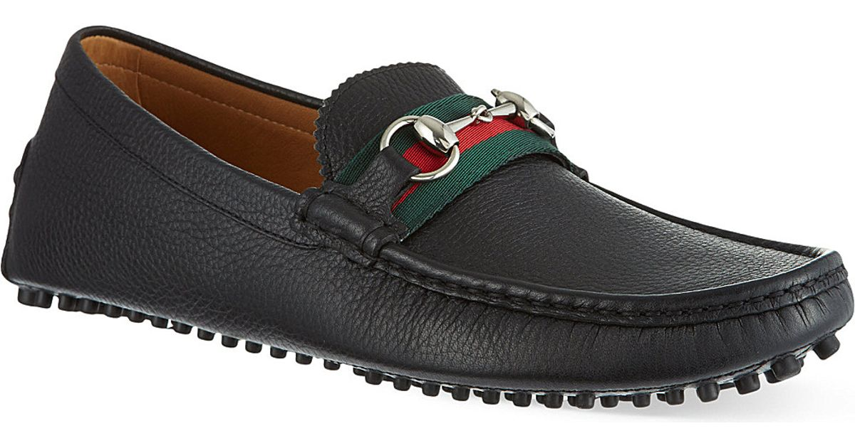 gucci damo driving shoes in black for men lyst