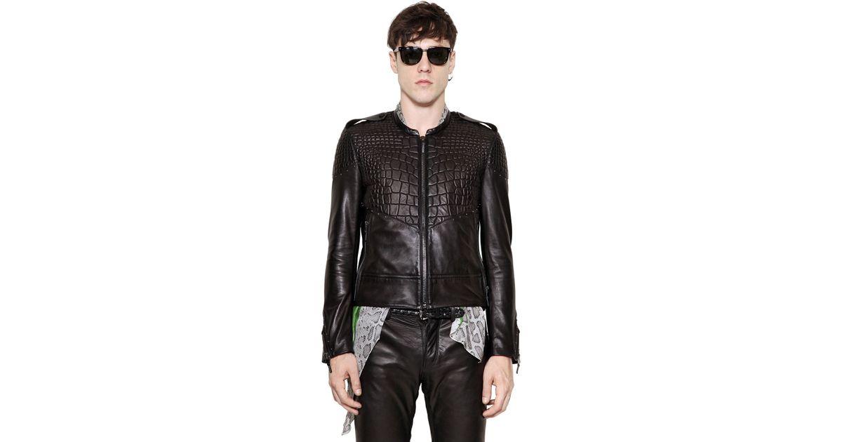 7bbcdbe3 Roberto Cavalli Croc Embossed Nappa Leather Jacket in Black for Men - Lyst