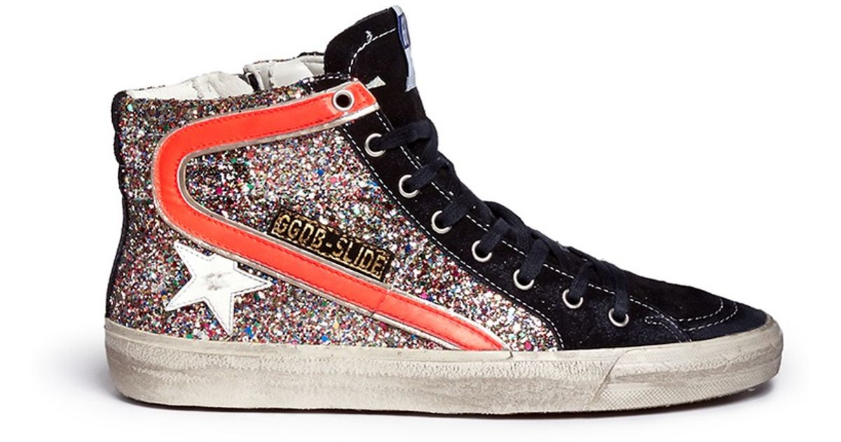 Golden Goose & Glitter Slide High-Top Sneakers