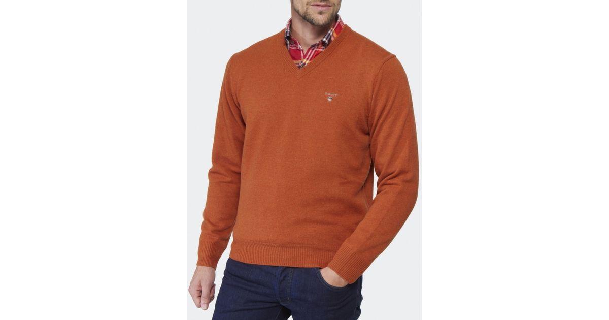 8a42d000db GANT V-neck Lambswool Jumper in Orange for Men - Lyst