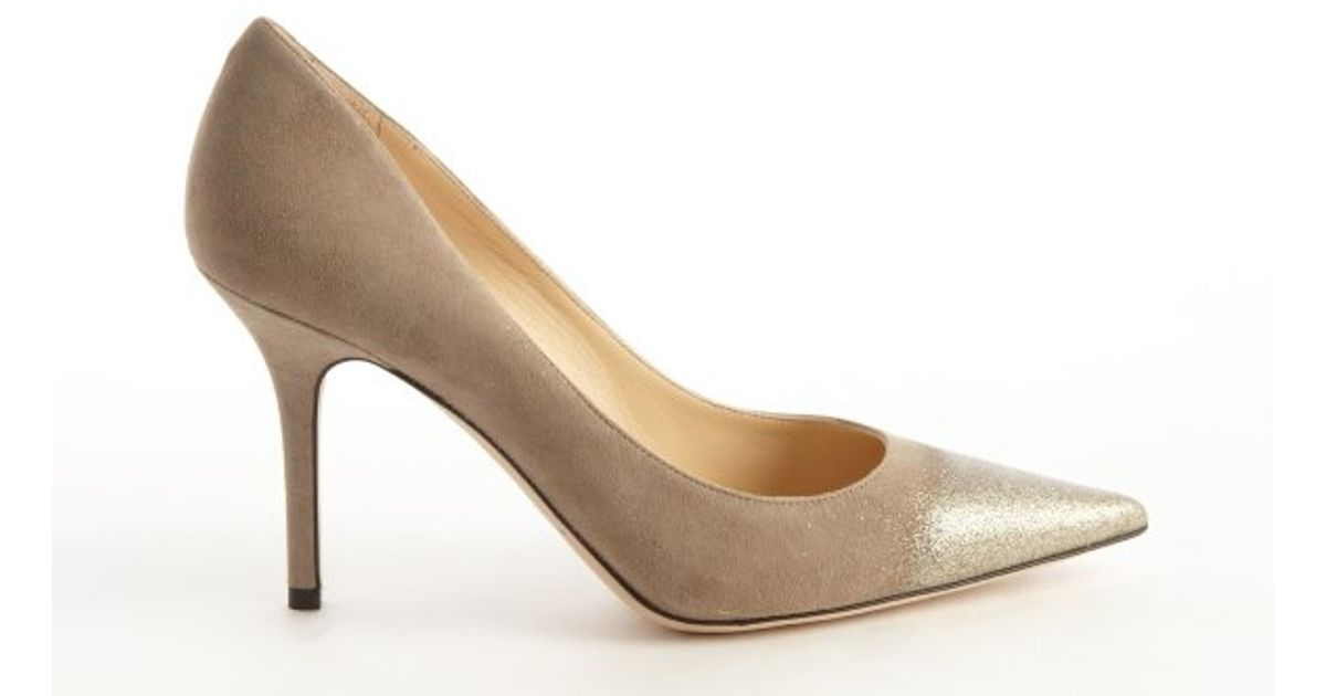 b8cf3e6ea Jimmy Choo Taupe Suede Agnes Pointed Toe Pumps in Brown - Lyst