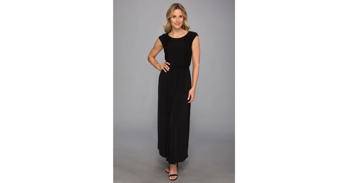 Lyst Calvin Klein Cap Sleeve Maxi Dress W Lace In Black